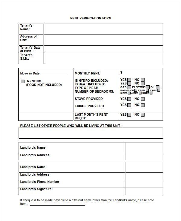 Renter verification form