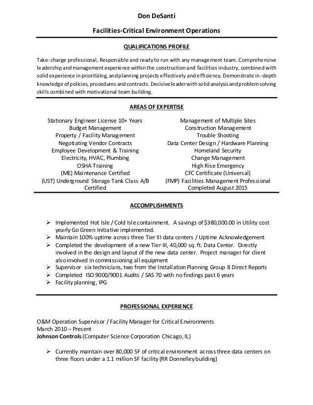 Download Facilities Manager Resume | haadyaooverbayresort.com