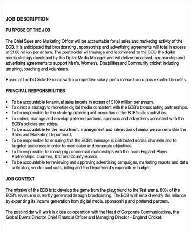 Chief Marketing Officer Job Description Sample - 7+ Examples in ...