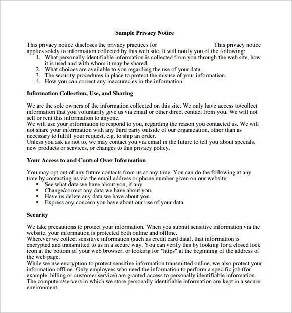 Sample Privacy Policy Sample - 7+ Free Documents in PDF