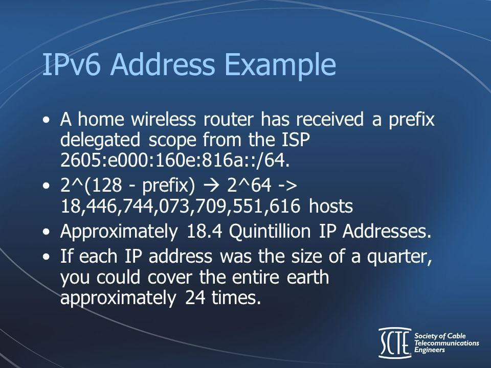 IPv6 … A Simplified Explanation Presented by Bryan Crisler Senior ...