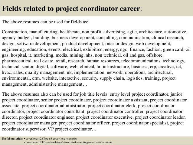 project coordinator resume sample cover latter sample pinterest ...