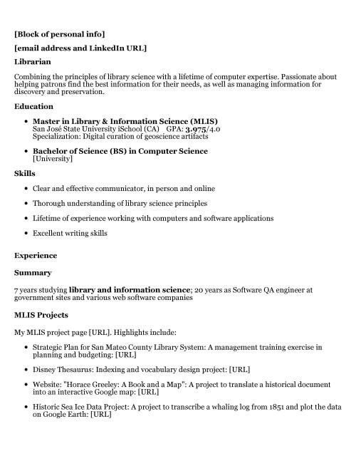 library resume sample