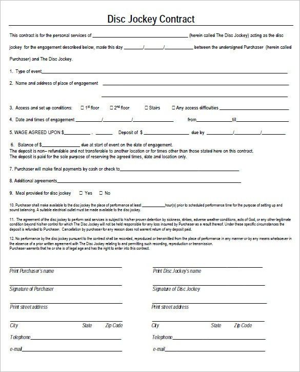 Event Contract Agreement. Download Free Dj Contract Form Template ...