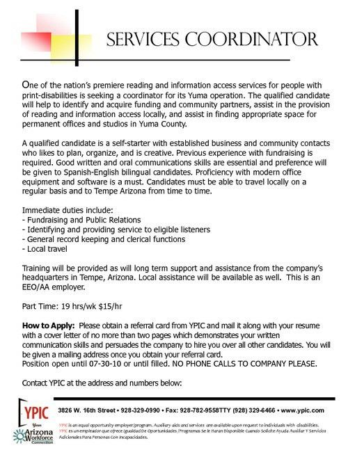 Resume service coordinator