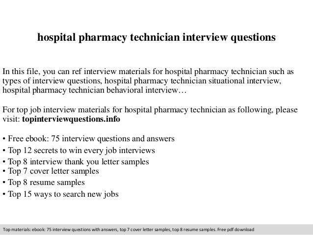 Hospital pharmacy technician interview questions