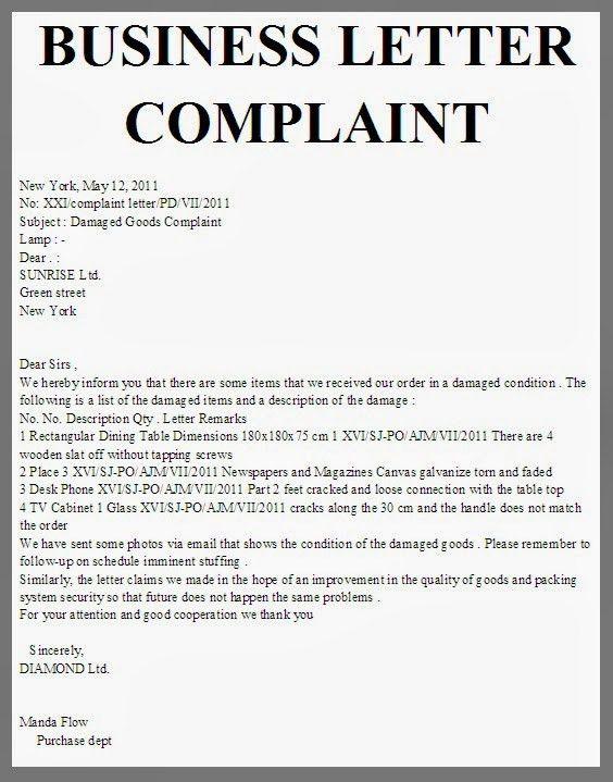 A Sample Business Complaint Letter - Compudocs.us