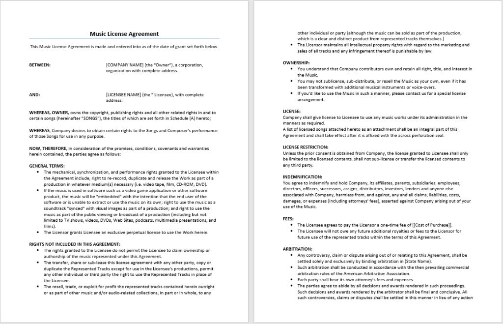 Music License Agreement Template – Microsoft Word Templates