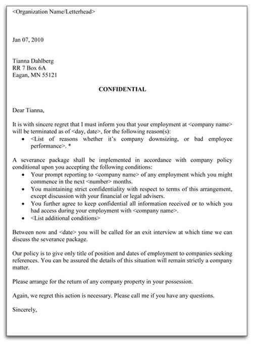 employment contract termination letter. sample employee ...