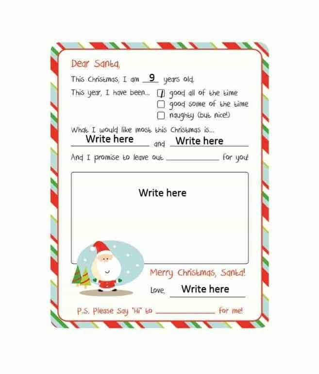 Santa Wish List Template. top 4 free samples of santa s list ...