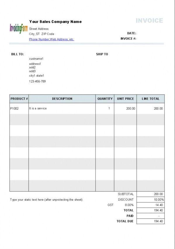 Tax Invoice Template Excel India | Design Invoice Template