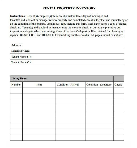 28+ Rental Inventory Checklist Template | Vacation Home Rental ...