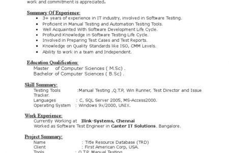 sample resume for manual testing qa tester video game resume
