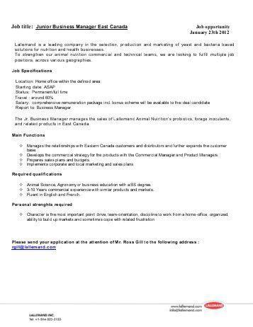 Job Description Role Profile Template