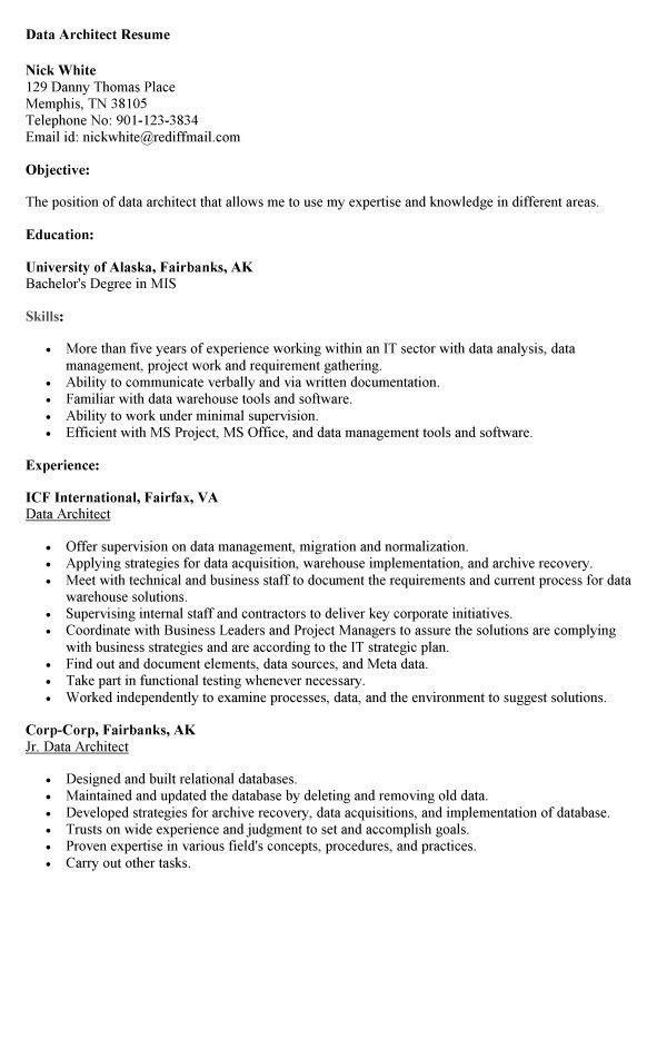 data architect resume