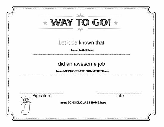 Way To Go Award Certificate – Microsoft Word | Award Certificates ...