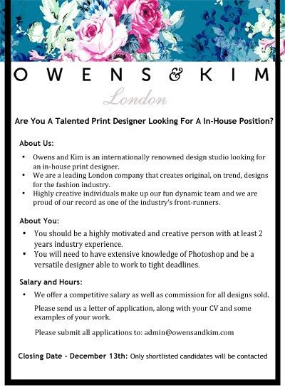 In-House Print Designer Vacancy - Owens & Kim