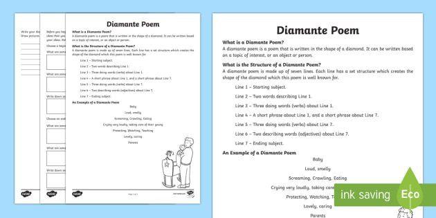 Diamante Poem Writing Template - Literacy, Interpreting