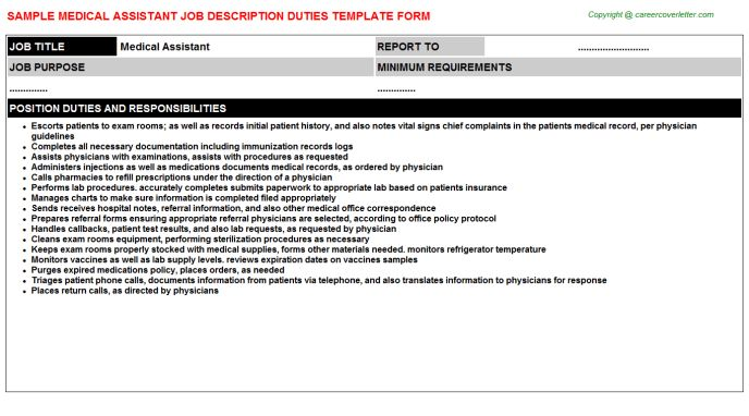 Medical Office Medical Assistant Pulmonary Job Descriptions