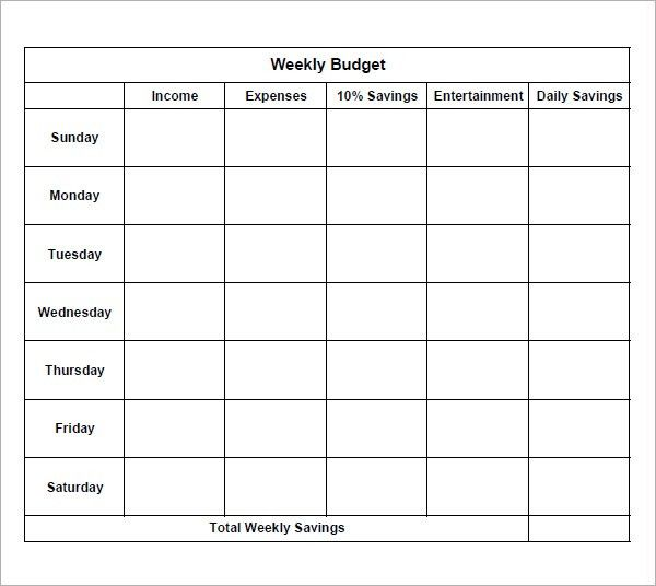 Weekly-Budget-paper-template-sample-printable