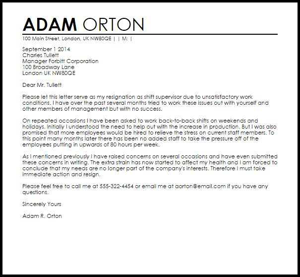 Resignation Letter Due To Unsatisfactory Work Circumstances ...