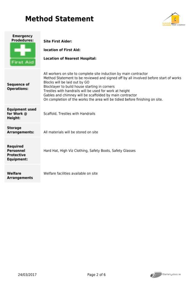 Safetydoc.ie Home of the online Method Statement Creator