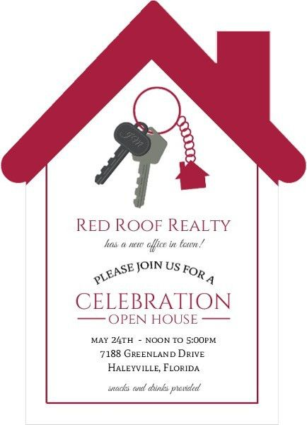Red Roof Real Estate Open House Invitation | Business Open House ...