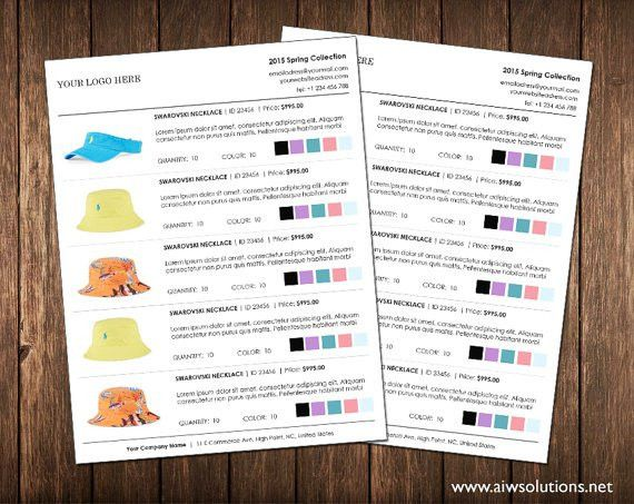 Wholesale line sheet template with colour options Line Sheet