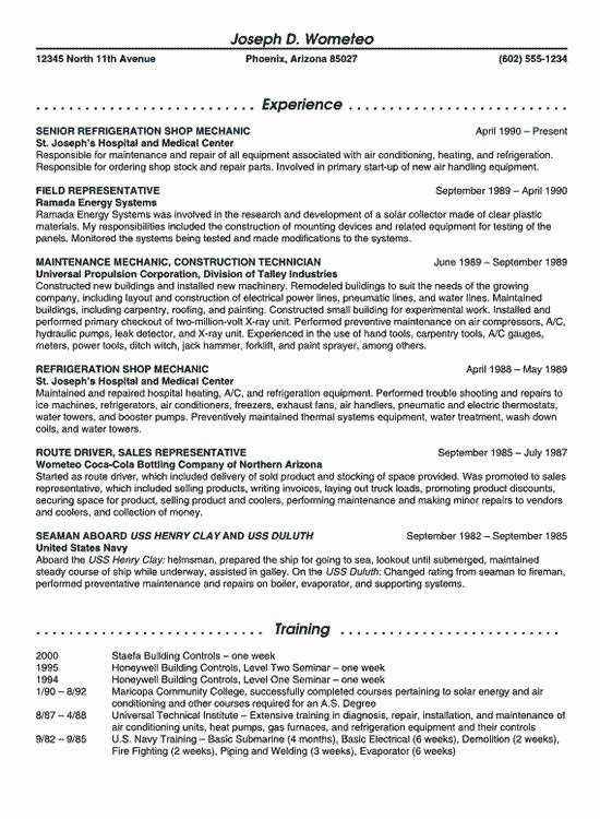 Maintenance Resume Example