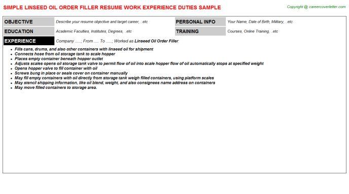 Linseed Oil Order Filler Job Title Docs