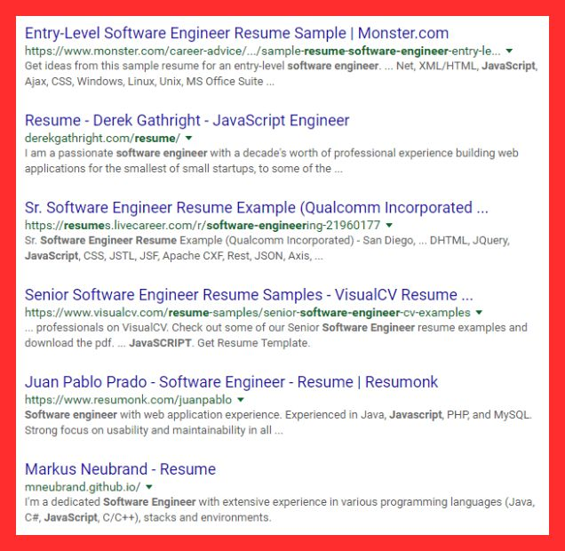 google resume example