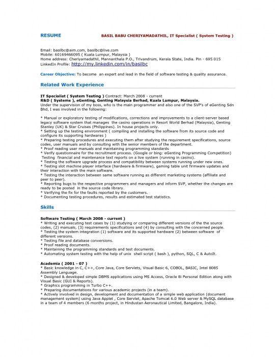 sample cv qa engineer instrumentation engineer sample resume ...