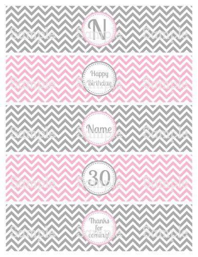Printable Chevron Pink & Gray Water Bottle Label Wraps ...