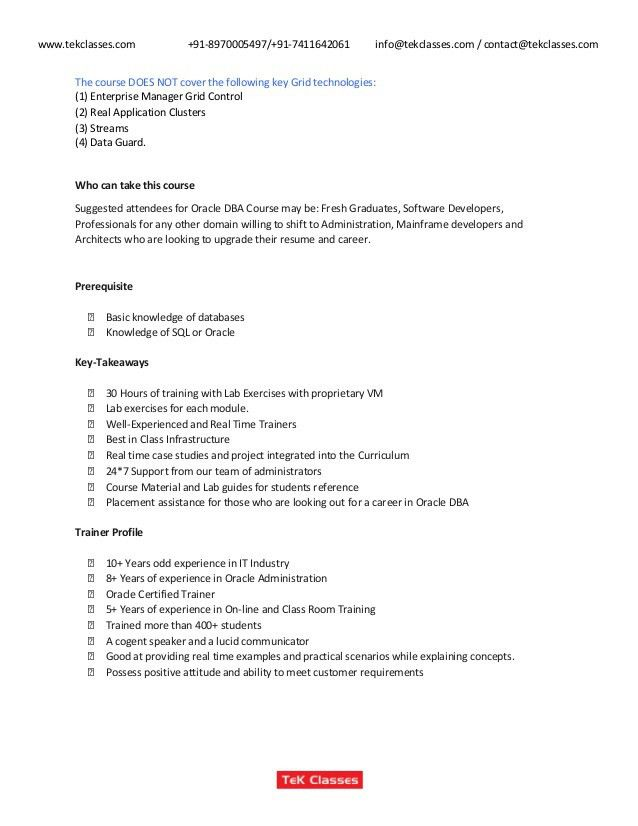 oracle resume sample dba resume example database administrator