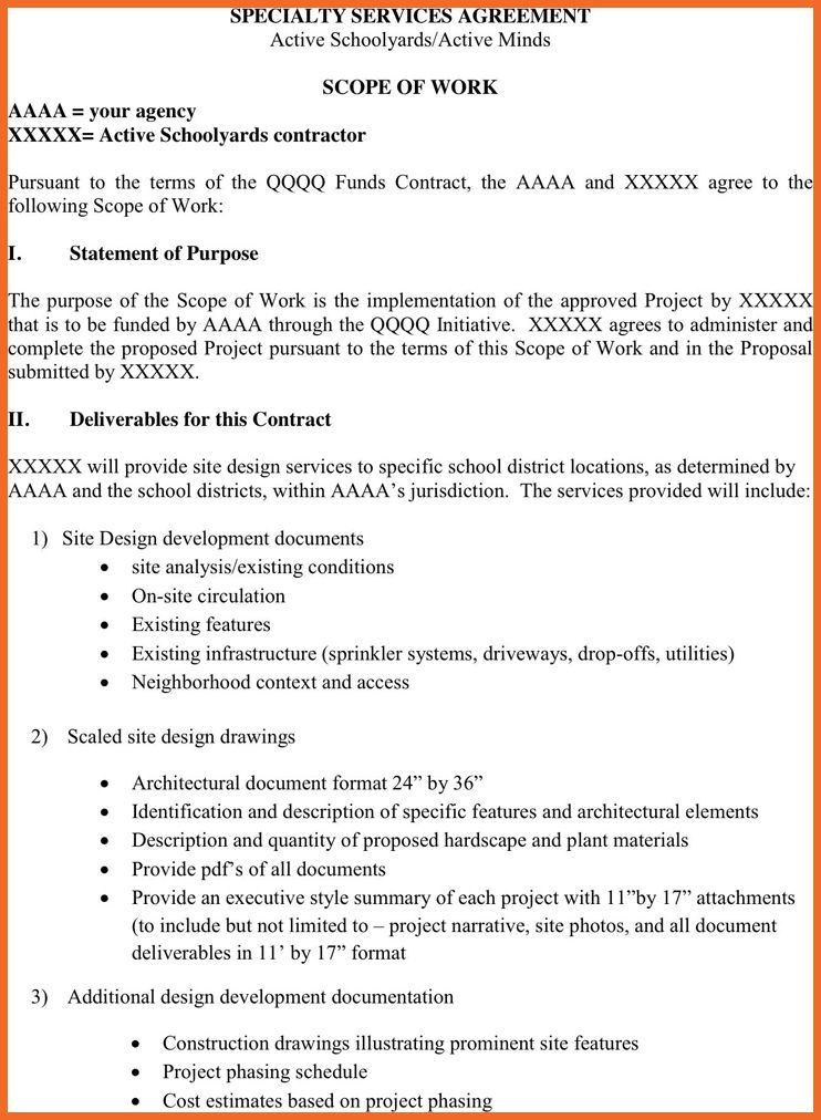scope of work example | sop example
