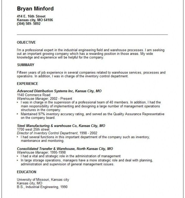 Resume Objective For Warehouse Worker | Template Design