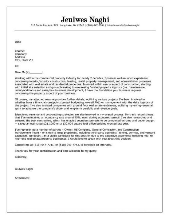 Real Estate Cover Letter - My Document Blog