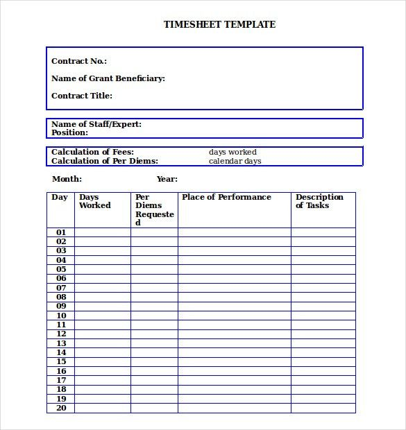 14+ Blank Timesheet Templates – Free Sample, Example Format ...