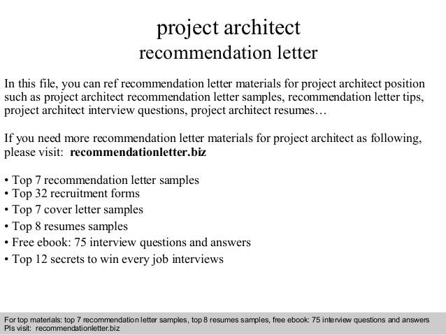 Project architect recommendation letter