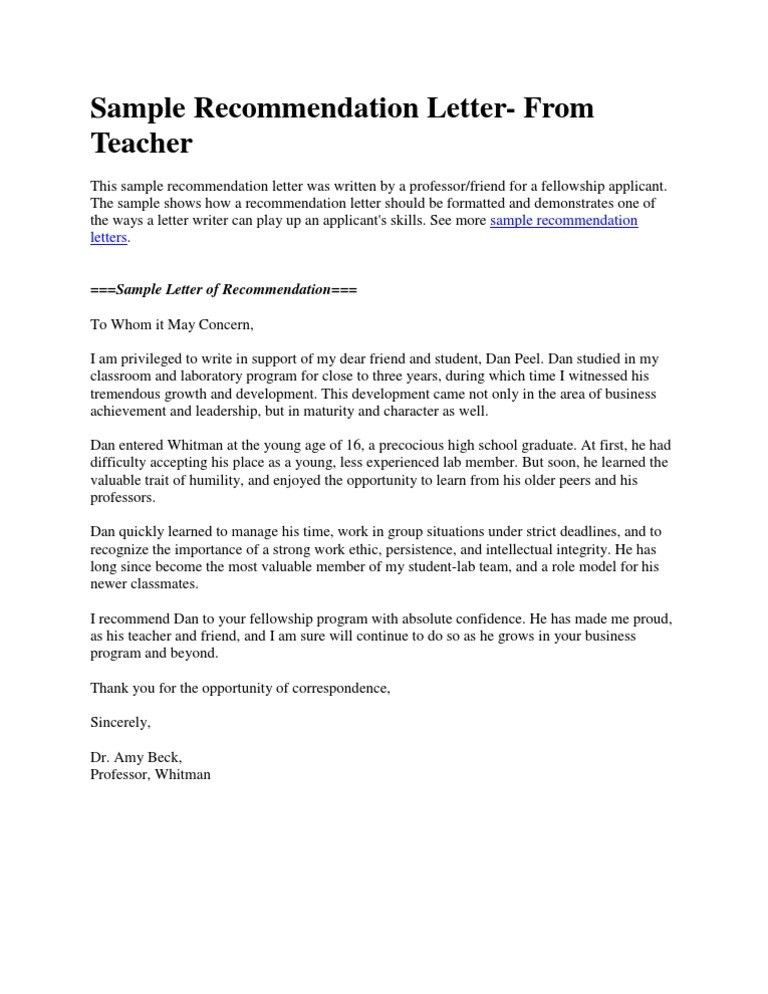 recommendation letter university sample