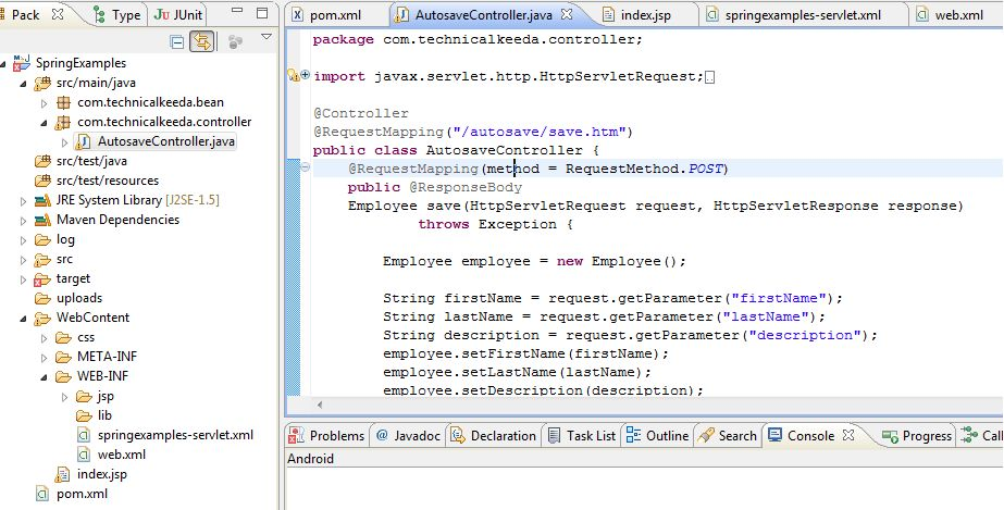 Jquery Ajax Autosave Example in Spring Mvc