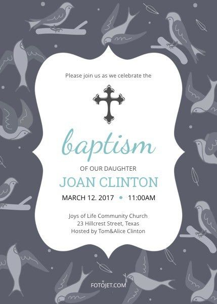 Baptism Invitation Template for Girls Template | FotoJet