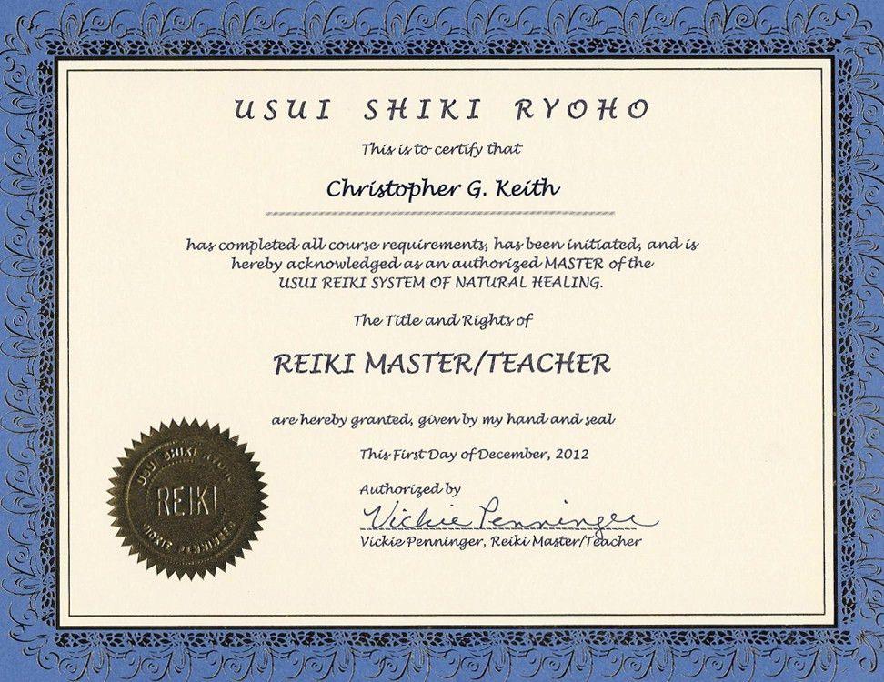 Reiki Master-Teacher Certificate - Triangle Energetics