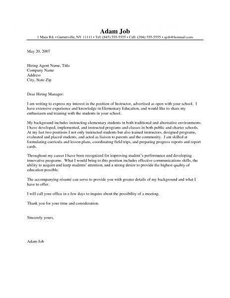 teacher cover letter – Letter Format Writing