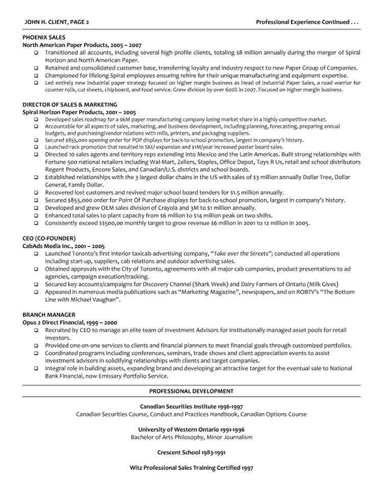 Managing Director Resume