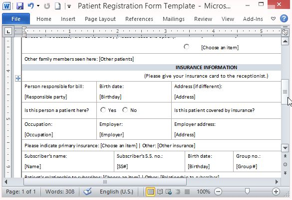 Free Patient Registration Form Template