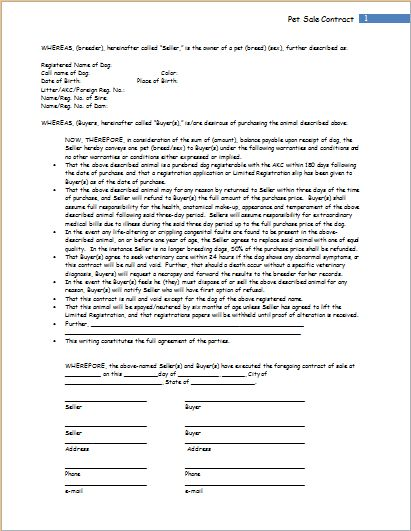 Pet Sale Contract Template for WORD | Word & Excel Templates