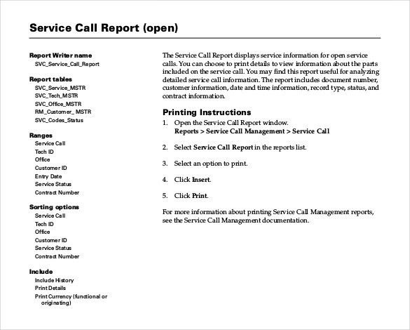 Sample Service Report Template - 6 Free Word, PDF Documents ...