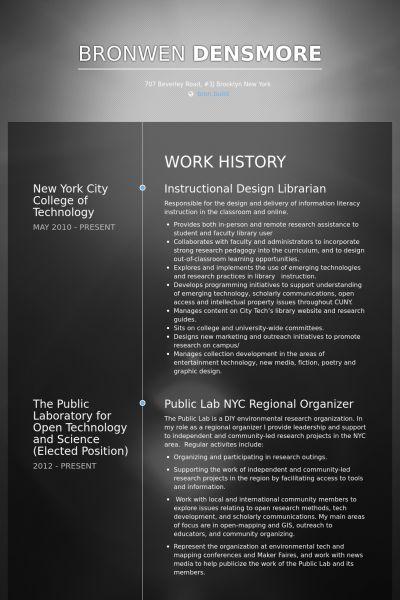 Librarian Resume samples - VisualCV resume samples database