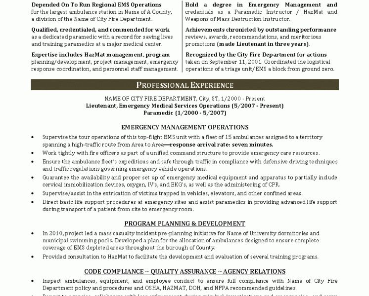 Nice Looking Emt Resume Examples 13 Resume Format For Paramedical ...